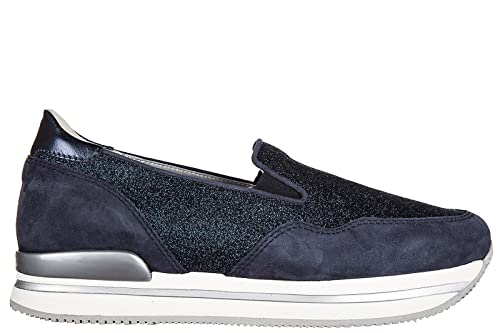 HOGAN SLIP ON DONNA IN CAMOSCIO SNEAKERS NUOVE ORIGINALI H222 PANTOFOLA BLU DDA
