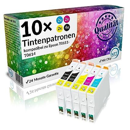 N.T.T. - Lote de 10 cartuchos de tinta para Epson T0611 T0612 ...