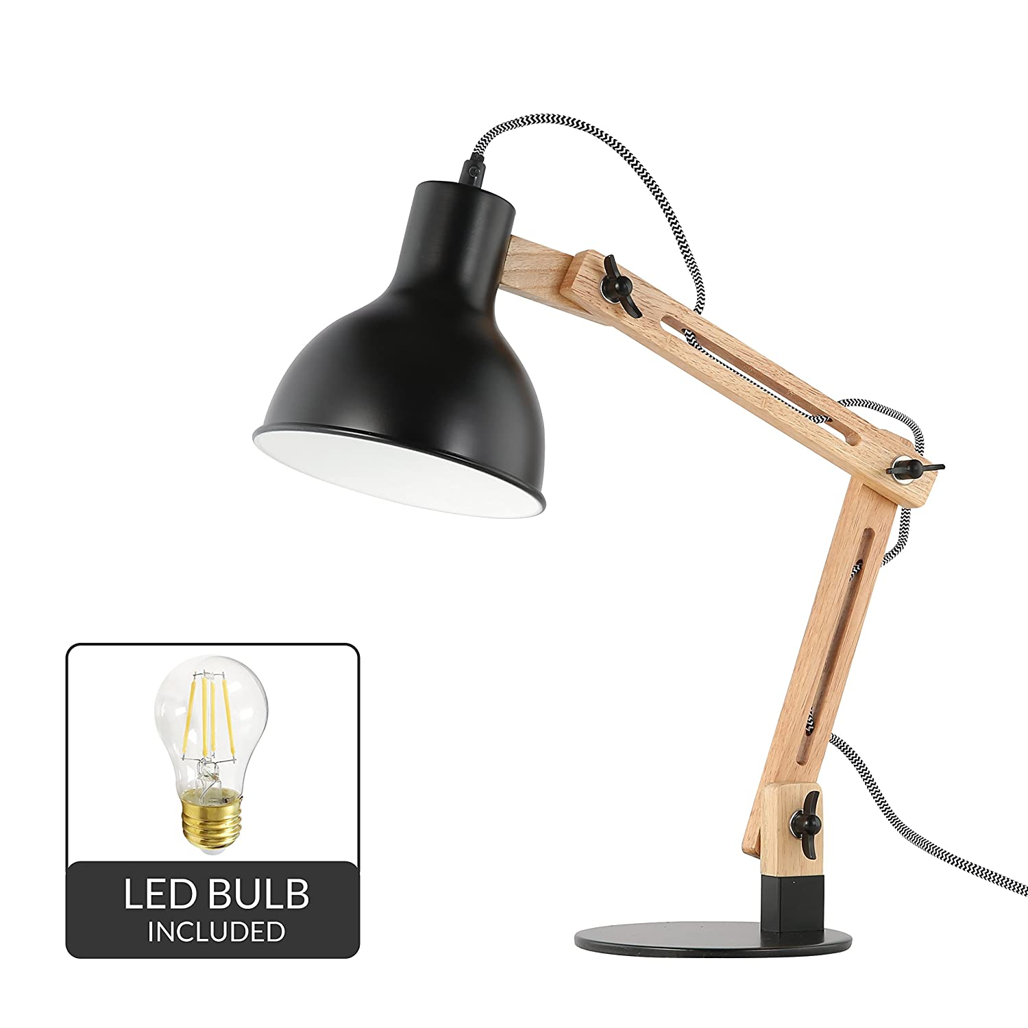 Light Society Galvan LED Task Table Lamp, Natural Wood with Black Shade and Base, Modern Industrial Pixar-Style (LS-T229-BLK)