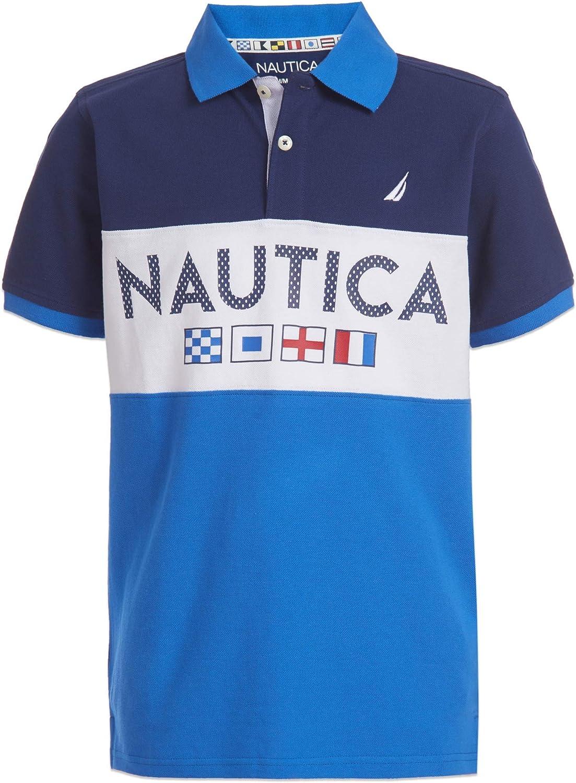 Nautica Boys Short Sleeve Colorblock Polo