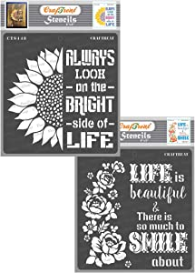 CrafTreat Stencils for painting on Wood, Canvas, Paper, Fabric, Floor, Wall and Tile - Bright side of Life and Smile now - 2 Pcs - 6x6 Inches each - Reusable DIY Art and Craft Stencils for Home Decor