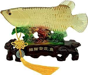"Betterdecor Feng Shui Wealth Arowana Lucky Fish Statue Figurine Home Office Decor and Best Gift -11"""