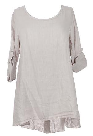 c28fd550ac TEXTURE Ladies Women Italian Lagenlook Long Sleeve Half Button Back Linen  Tunic Dress One Size (One Size