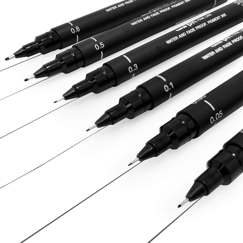 Uni Pin Fineliner Drawing Pen - Sketching Set - Black Ink - 0.03 to 0.8mm - Set of 6 by Uni Pin (Image #2)