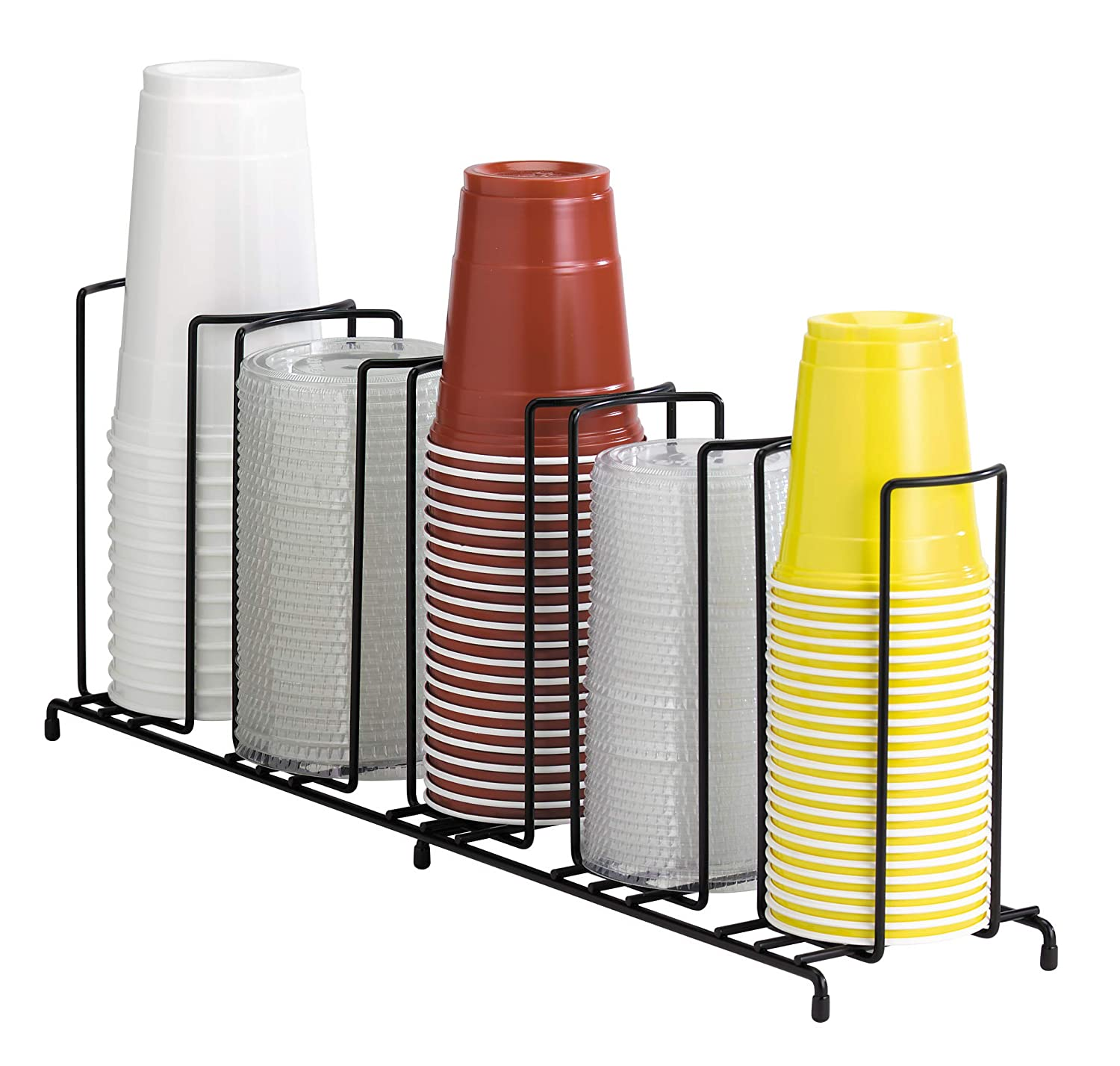 DISPENSE-RITE WR-3 Dispense-Rite Three Section Wire Rack Cup and Lid Organizer, Black 812483015163