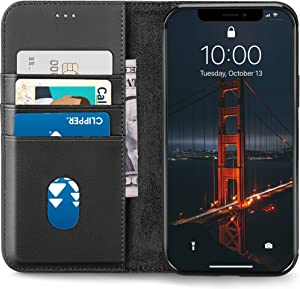 LONLI All-in-One Leather Wallet Case | Compatible with iPhone 12/12 Pro - (6.1 inch, Black)