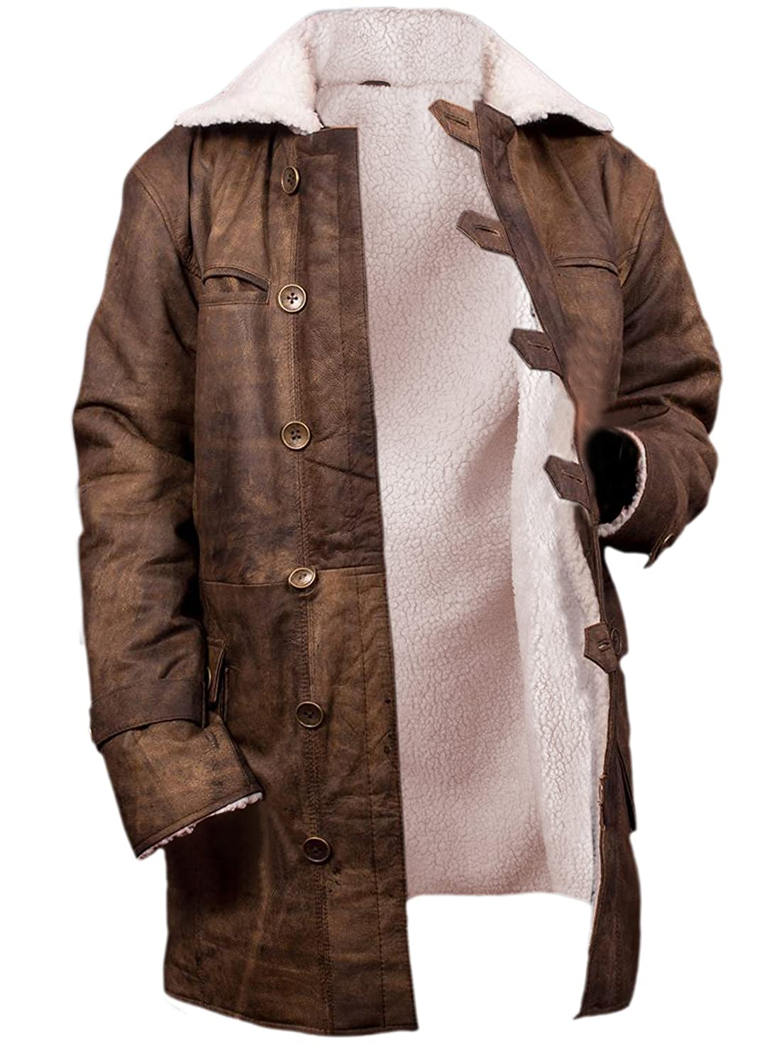 Flesh /& Hide F/&H Mens Bane Genuine Distressed Cowhide Leather Shearling Coat