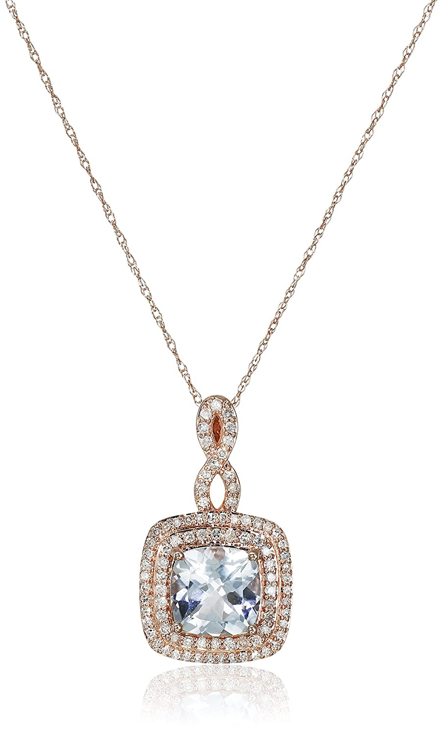 """10k Pink Gold Double Frame Cushion Cut Aqua with Infinity Diamond Accent Pendant Necklace (1/3cttw, I-J Color, I2-I3 Clarity), 18"""""""