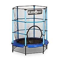 Klarfit Rocketkid • Trampolin • Gartentrampolin • Outdoor-Trampolin • 140 cm Ø • verschließbares Sicherheitsnetz • Bungeeseil-Federung • bis max. 50 kg • Stangen gepolstert