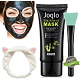Joqlo Blackhead Remover Mask,60g Charcoal Deep Cleansing Peel-off Black Mask for for Acne and Blemishes, Strawberry Nose. Activated Peel-off Black Mask with Mask Applicator Brush, Hair Band