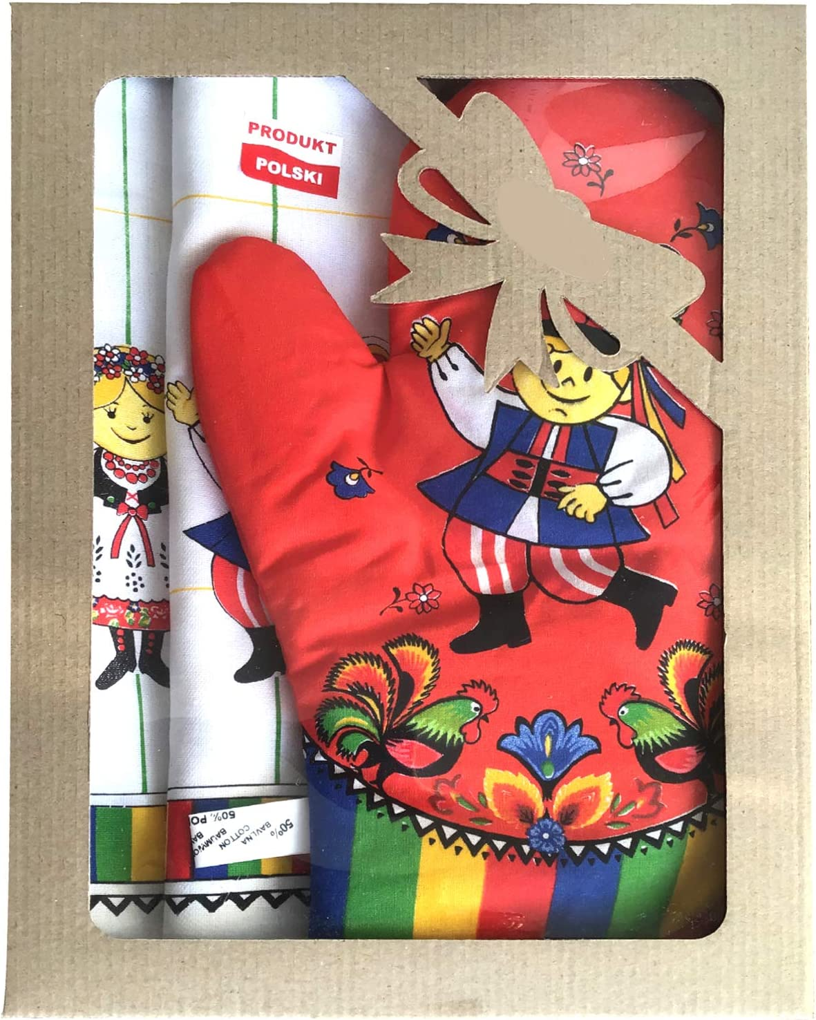 Polish Folk Art Krakow Dancers Gift Set with 2 Kitchen Towels and 1 Oven Mitt in Box (Red)