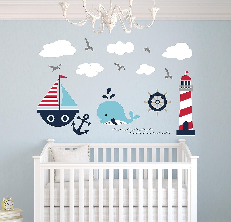 Nautical Theme Wall Decal - Nautical Decor - Nursery Wall Decals - Whale and Sailboat - Vinyl Baby Nursery Decor Sticker
