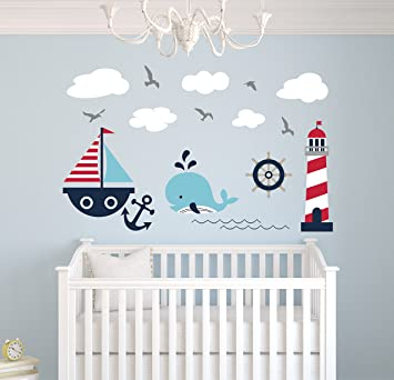 Nautical Theme Wall Decal - Nautical Decor - Nursery Wall Decals - Whale and Sailboat -  sc 1 st  Amazon.com & Amazon.com: Nautical Theme Wall Decal - Nautical Decor - Nursery ...