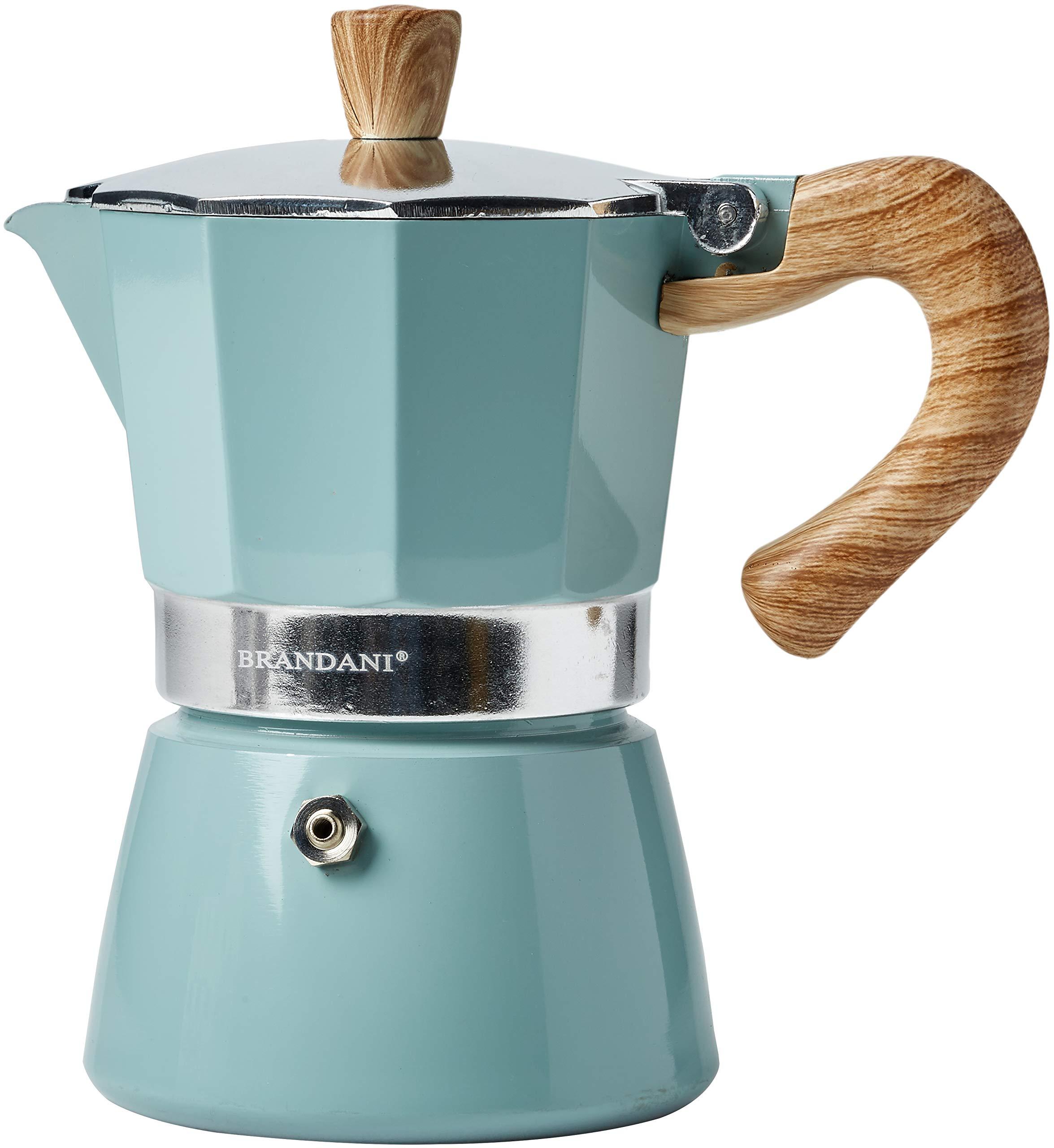 Brandani 53990 Naturalexpress 3 Cup Coffee Pot Tiffany Aluminium, Blue