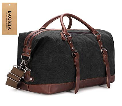 Amazon.com | BAOSHA Oversized Canvas PU Leather Travel Tote Duffel ...