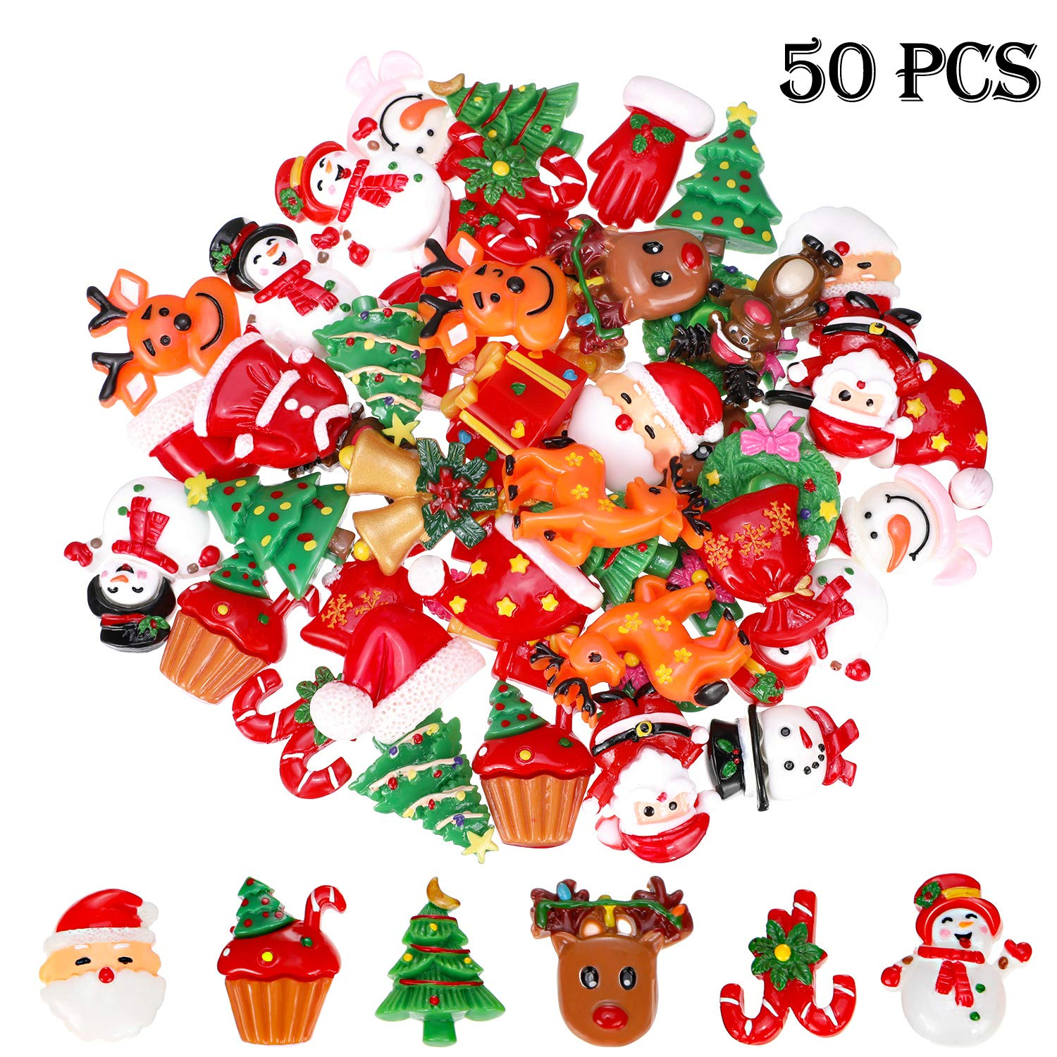 50 Pieces Flat Back Buttons Christmas Resin Flatback Resin Button Craft Embellishments For Diy Crafts Making Scrapbooking Decoration