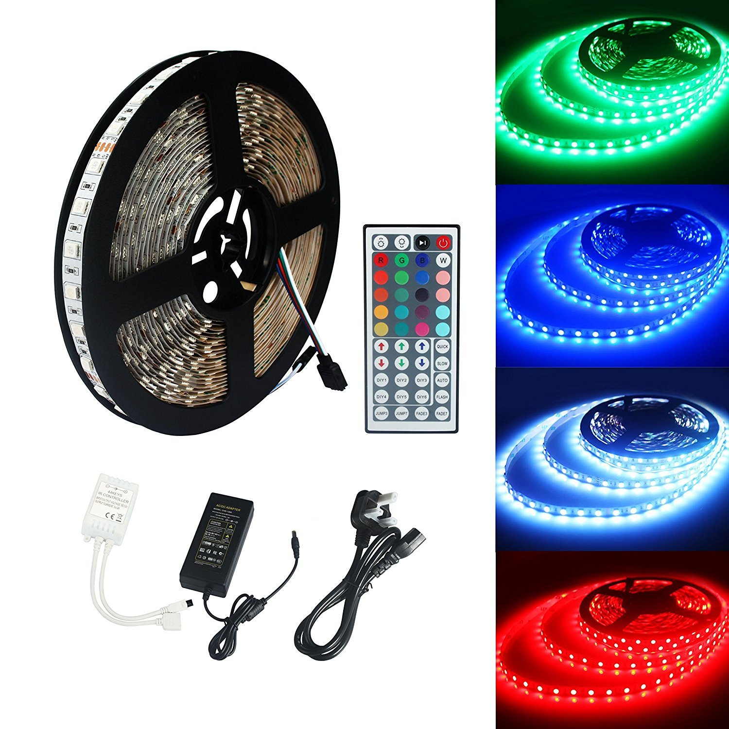 ECOLUX® 10M 5050 RGB 600Led Color Changing Led Strips with 44 key IR Remote+24V 6A AC UK Plug Adapter Power Supply for Home lighting and Kitchen Decorative ALED LIGHT