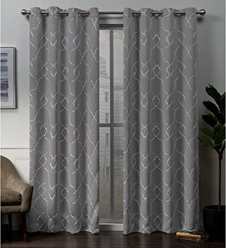 Exclusive Home Curtains Belmont Embroidered Woven Blackout Grommet Top Curtain Panel Pair, 52×84, Gray Mist