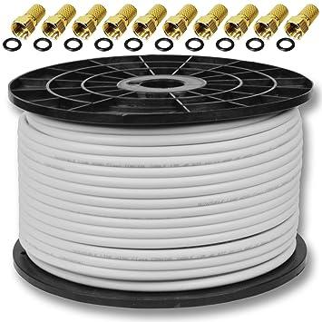 A.s.sat - Cable coaxial de 120 db 100m papel fullhd 3d hdtv capaz de 4