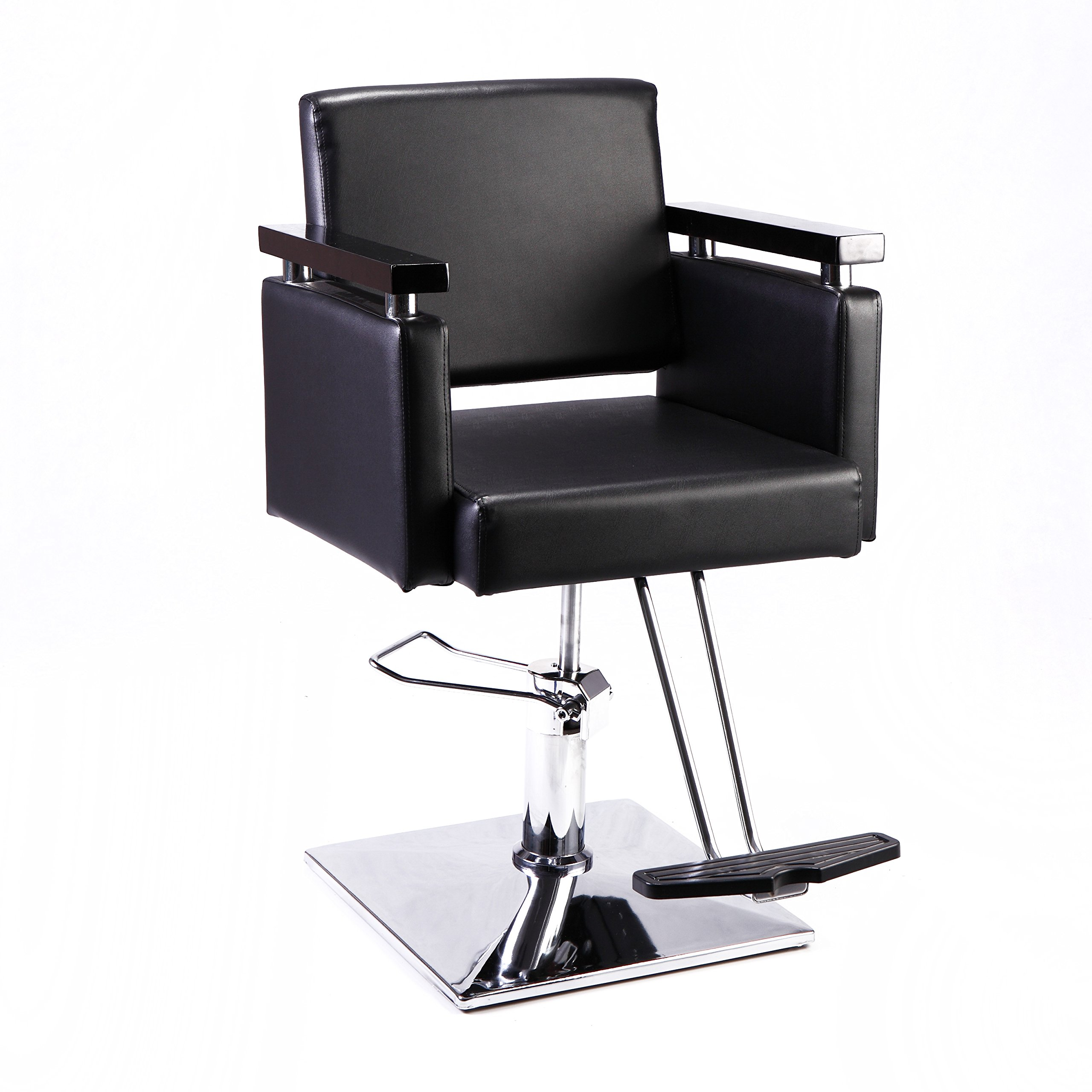 JAXPETY Classic Hydraulic Barber Chair Styling Salon Beauty Spa Shampoo Hair Styling Equipment Square Base Black