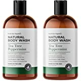 Organic Tea Tree Peppermint Shower Gel & Body Wash- Made in USA - 2 pack of 16oz - All Natural, Hypoallergenic, Vegan…