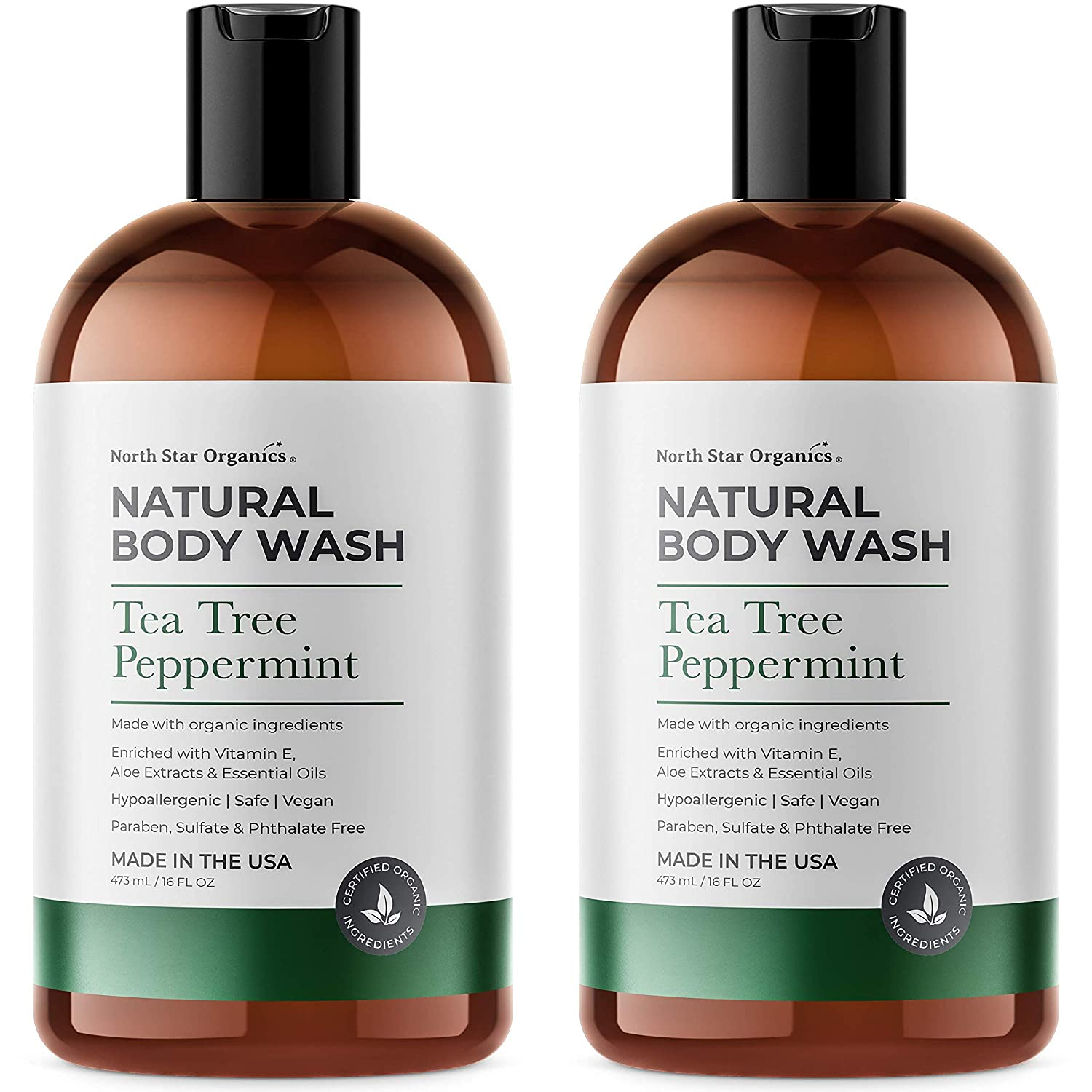 Organic Tea Tree Peppermint Shower Gel & Body Wash- Made in USA - 2 pack of 16oz - All Natural, Hypoallergenic, Vegan, Paraben, Sulfate & Phthalate Free