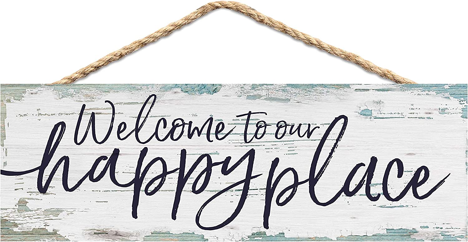 P. Graham Dunn Welcome Our Happy Place Nautical Blue 10 x 4 Pine Wood Hanging Décor String Sign
