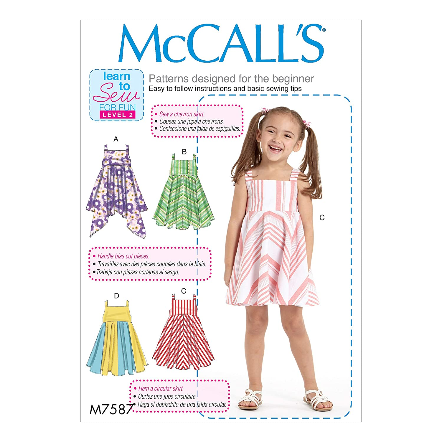 Amazon.com: McCalls M7587CDD Childrens/Girls Dresses with Square Neck, 2-3-4-5: Arts, Crafts & Sewing