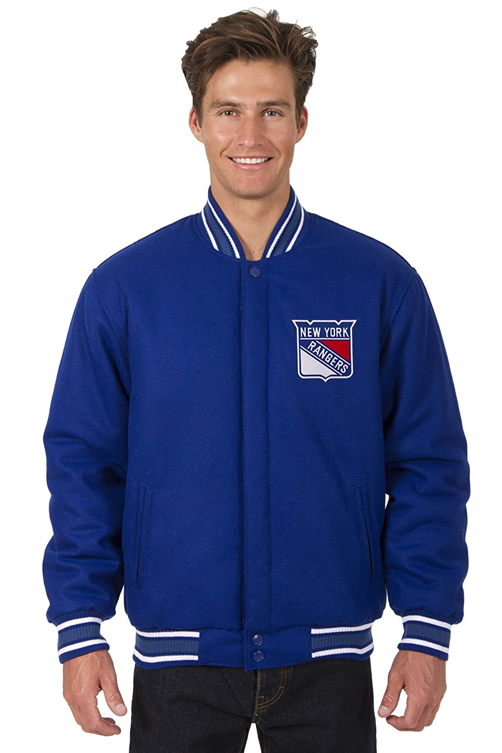Discount New York Rangers Hockey Jacket Wool Nylon Royal Blue Reversible Embroidered Logos