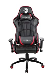 Circle Gaming CH75 Red/Black All Moulded Foam with 4D ARM Rest Having PU + PVC Cover Material with Adjustable Backrest Angle : 90-180 Degree with Class 4 Gas Lift Gaming Chair