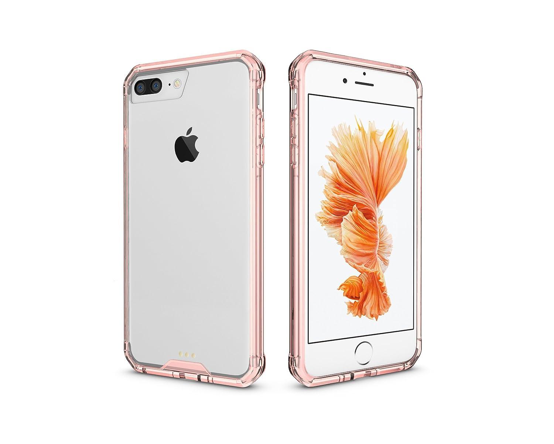 iPhone 7 Plusケース、iPhone 8 Plusケース、クリスタル透明クリアヘビーデューティー保護用超スリム衝撃吸収傷防止anti-yellowハードPCカバーfor Apple iPhone 7 Plus and Apple iPhone 8 Plus ピンク  ピンク B077SWNZXV