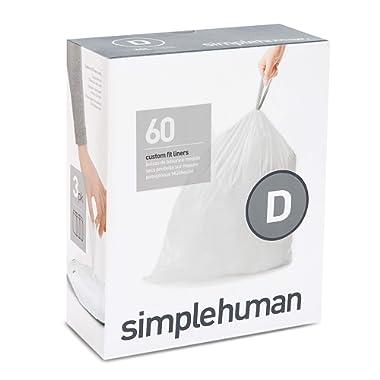 simplehuman Code D Custom Fit Drawstring Trash Bags, 20 Liter / 5.2 Gallon, 3 Refill Packs (60 Count)