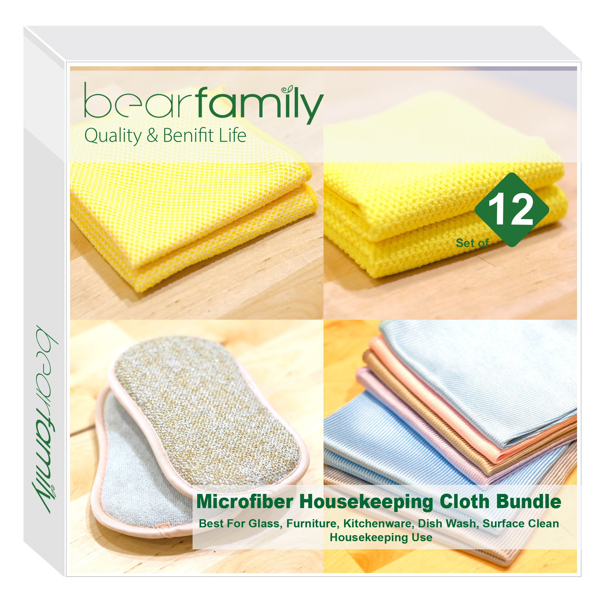 Microfiber Window Cloth / Dish Pad / Kitchen Cloth / Furniture Cloth / Pack of 12 Mix Colors By Bear Family