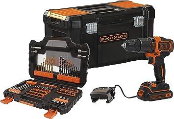 BLACK+DECKER BDCHD18S1KA-QW - Taladro percutor 18V con set de 104 accesorios, 1 batería de litio 1.5Ah y caja de herramientas: Amazon.es: Bricolaje y herramientas