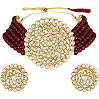 Aheli Pearl Diamond Choker Necklace with Round Earrings for Women Girls Indian Traditional Bollywood Fashion Jewelry Set