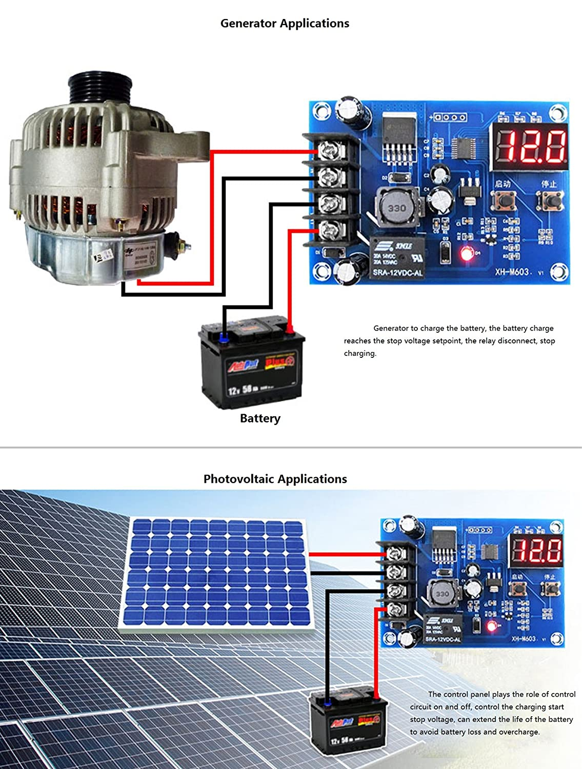 Noyito 12v 24v Battery Charging Control Board 12 Solar Charger With Overcharge Protection Electronic Max30v Charge Switch Auto Power Off Safe And Energy Saving Computers