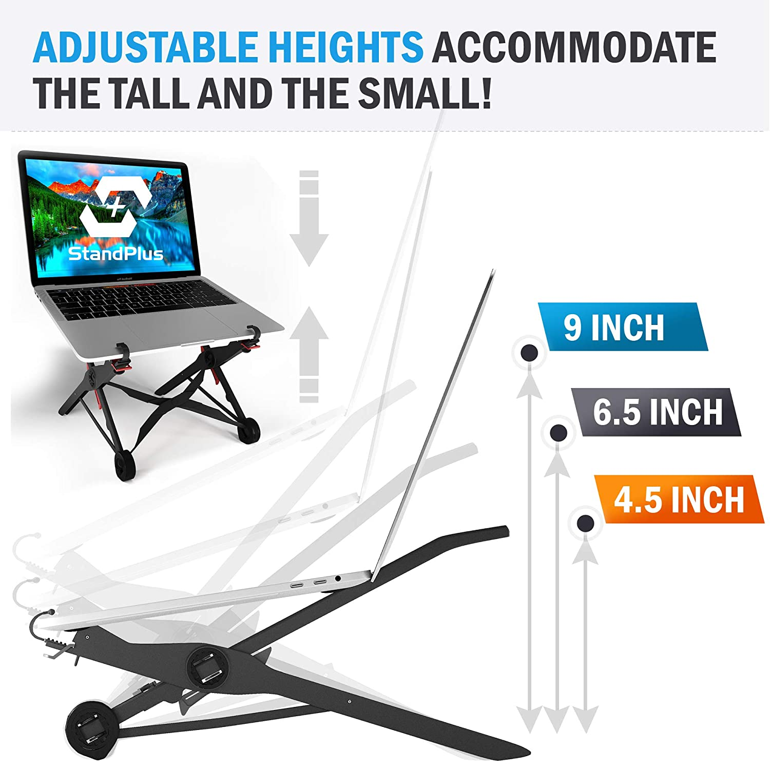 PC and MacBook Riser to Improve Posture and Reduce Back Pain Portable Lightweight Stands for Office and Home by StandPlus Foldable Adjustable Laptop Stand for Desk and Table