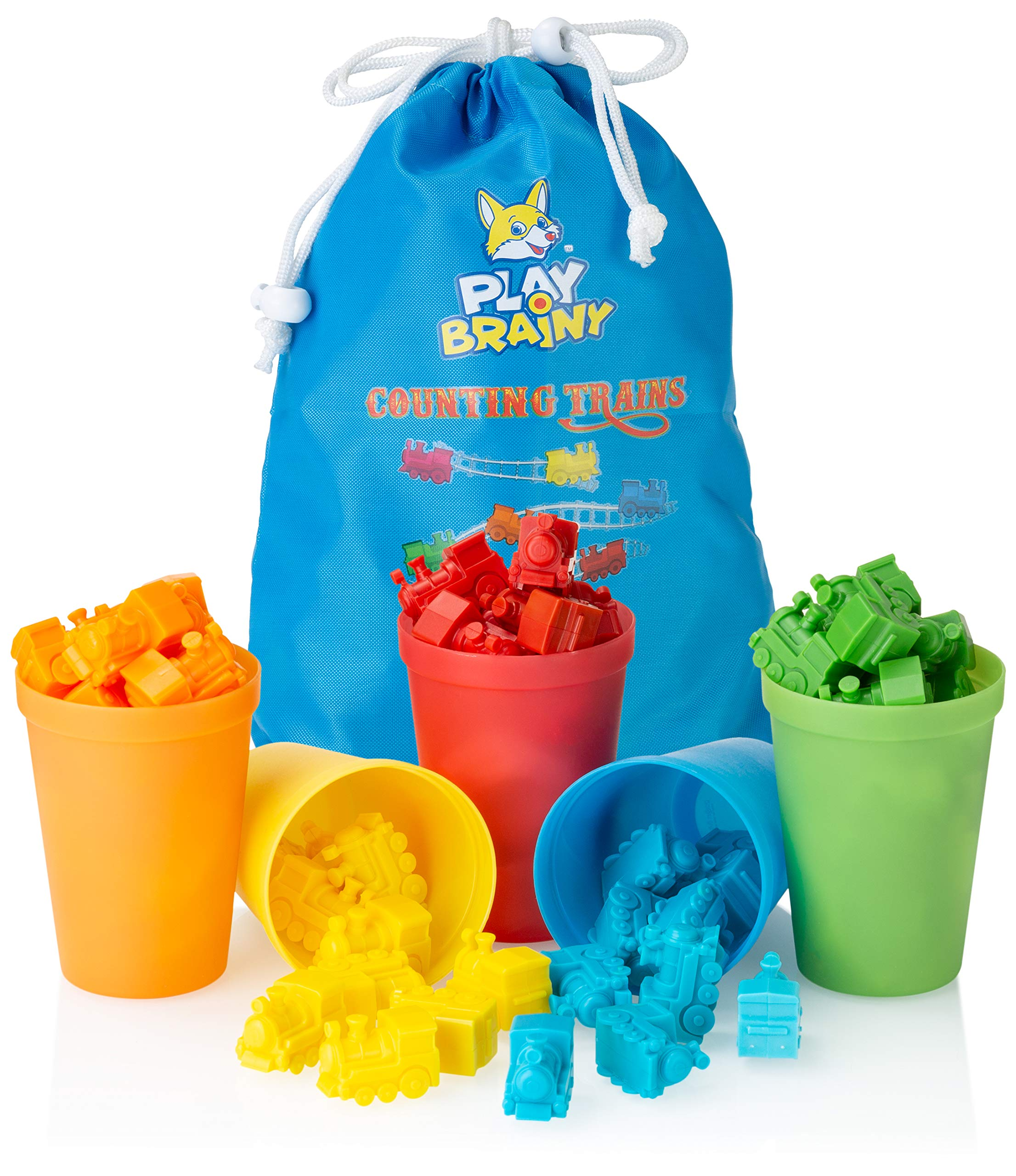 Play Brainy Colorful Counting Trains and Cups - Fun Educational Sorting Trains with Color Sorting Cups - Educational Montessori Toy for Toddlers & Children - 50 Count Trains, 5 Colored Cups, & Bag by Play Brainy