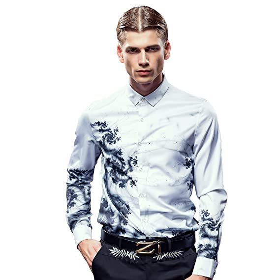 468718a9 FANZHUAN Fashion White Floral Printed Long Sleeve Men Shirt Slim Fit Wrinkle  Free: Amazon.co.uk: Clothing