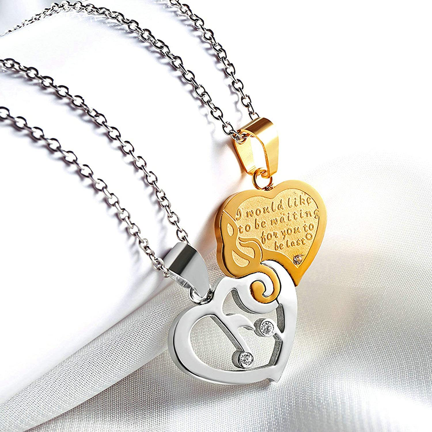 Aooaz Necklace Set Stainless Steel Anniversary Necklace for Couple Matching Musical Note Necklace Set for Couples Silver Gold