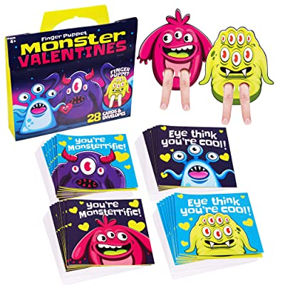 Red Robin Greetings; Valentine's Day Cards For Kids; Monster Finger Puppet Valentines Cards For Class (28-Count With Envelopes): Office Products