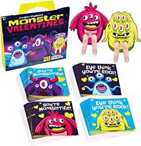 Red Robin Greetings; Valentine's Day Cards For Kids; Monster Finger Puppet Valentines Cards For Class (28-Count With Envelopes)