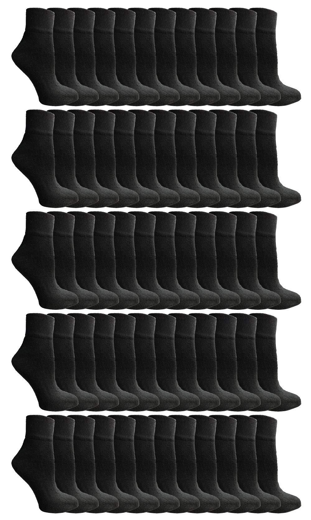 Yacht & Smith Kids Ankle Wholesale Bulk Pack Athletic Sports Socks, by SOCKS'NBULK (Kids 2-4 (Shoe Size 4-6), 240 Pairs Black)