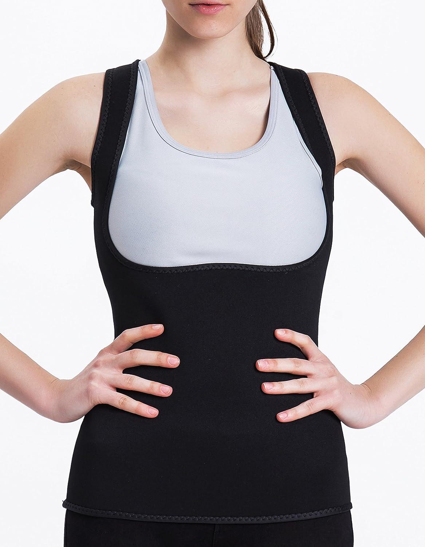 zum Abnehmen Neoprenweste ohne Rei/ßverschluss Taillen- und Bauchtrainer schwarz Tooklanet K/örpertrimmer-Oberteil f/ür Damen