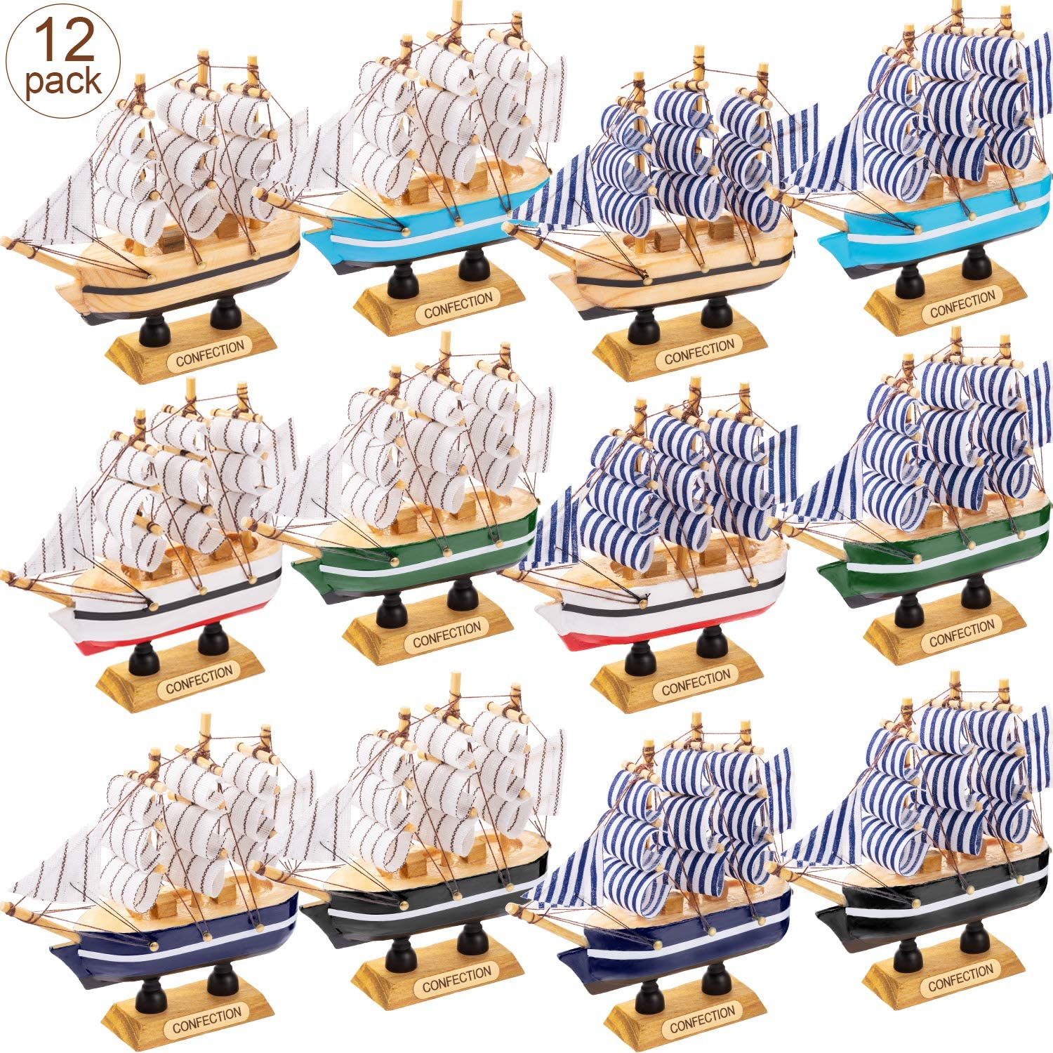 Wooden Yacht With LED Lights Ornament ~ Blue Sail Boat Nautical Decoration
