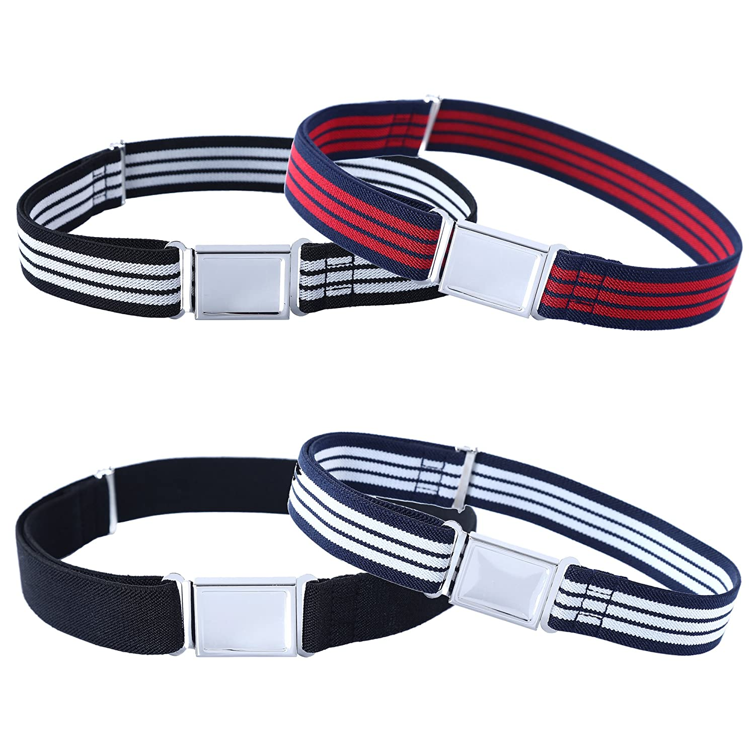 4PCS Kids Boys Adjustable Magnetic Belt - Elastic Belt with Easy Magnetic Buckle Jerrybaby