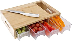 JINIMADE 100 Percent Bamboo Cutting Board with 4 Sliding Drawer Trays. Complete Set for Kitchen, Large 16x10.5x3.5 inches with Handles. Lightweight, Easy to Clean