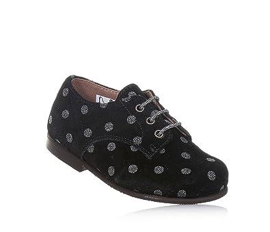 f517a122536b3 PÈPÈ - Chaussure à lacets noire en suède avec motif à pois argent ...