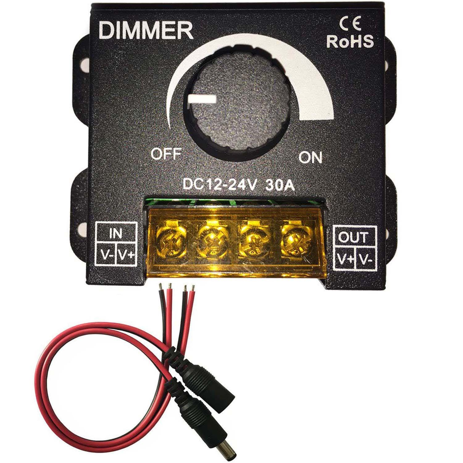 Kabenjee DC 12~24V PWM Dimmer Switch Knob ON/OFF Switch with Black Aluminum Housing,Full Range 0~100% Dimming,Max 30A/720W for LED Strip Lights,Christmas LED Light Decoration Dimmer Switch(Style-A)