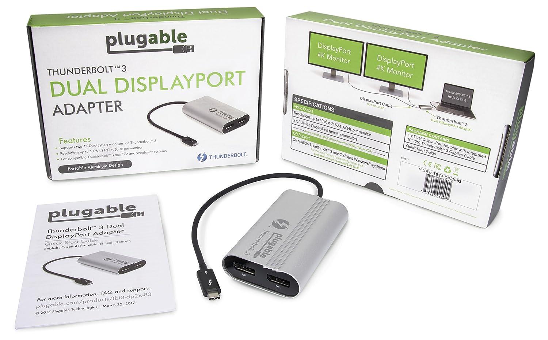 kompatibel mit MacBook-Pro-Systemen von Ende 2016//2017//2018 oder einen 5K-Monitor unterst/ützt bis zu Zwei 4K-Monitore Plugable Thunderbolt 3 auf Dual DisplayPort Display-Adapter 60 Hz